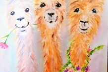 Paint and Sip Class - Happy Llamas