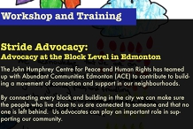 Stride Advocacy:  Advocacy at the Block Level in Edmonton