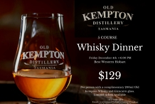 Old Kempton Distillery Tasmania Whisky Dinner at Best Western Hobart