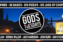 Gods Tuesdays January 28th ~ Live Music, Cheap Jugs and Wines