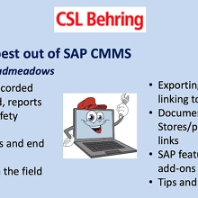 VICTAS Getting the best out of SAP CMMS - CSL Behring via Zoom