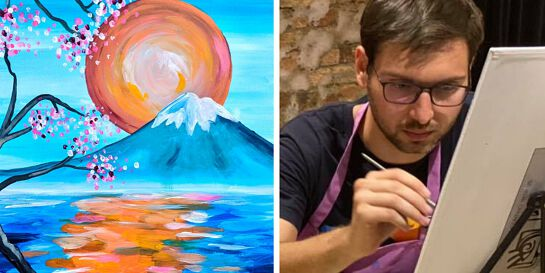 Paint Mount Fuji - Acrylic Sip & Paint Class for Beginners (BYO)