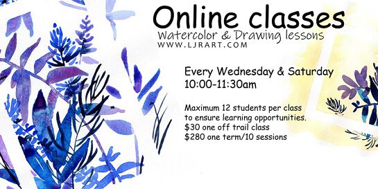 Watercolor & Drawing live Online classes