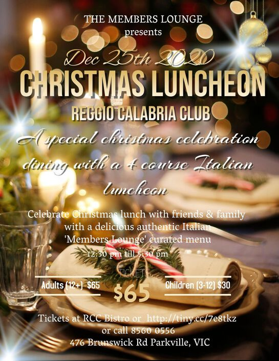 Christmas Luncheon @ Reggio Calabria Club presented by The Members Lounge