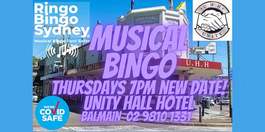 UNITY HALL HOTEL. RINGO BINGO SYDNEY. MUSICAL BINGO THURSDAYS 7PM PRIZES!!
