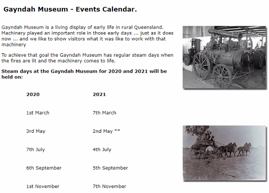 Gayndah Museum Steam Day