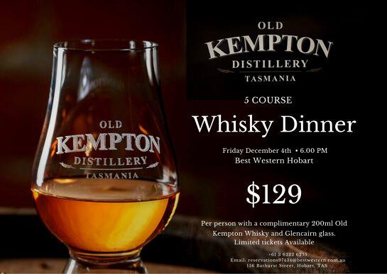 Old Kempton Distillery Tasmania Whisky Dinner at Best Western Hobart