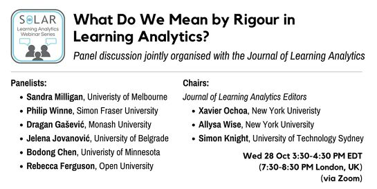 SoLAR Webinar: What Do We Mean by Rigour in Learning Analytics?