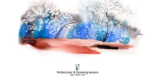 Watercolor & Drawing live Online classes10 sessions/term