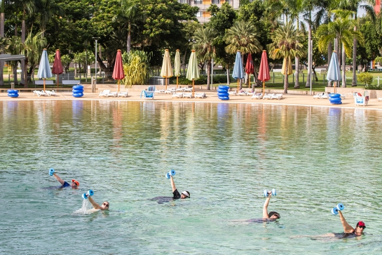 Aqua fitness in the Wave Lagoon