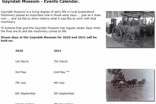 Gayndah Museum Steam Day